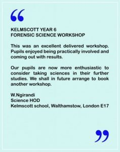 Testimonial for first Forensic Science Masterclass
