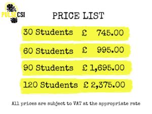 Secondary School CSI Workshop Prices